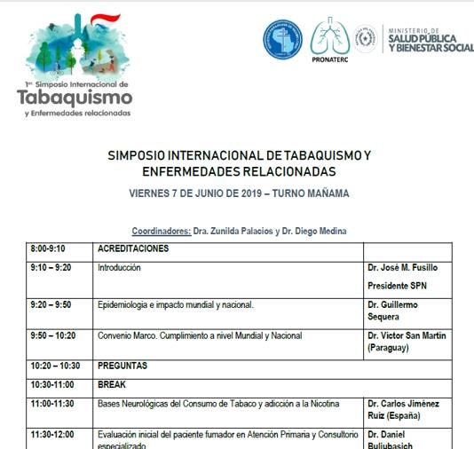 Programa Simposio Internacional de Tabaquismo