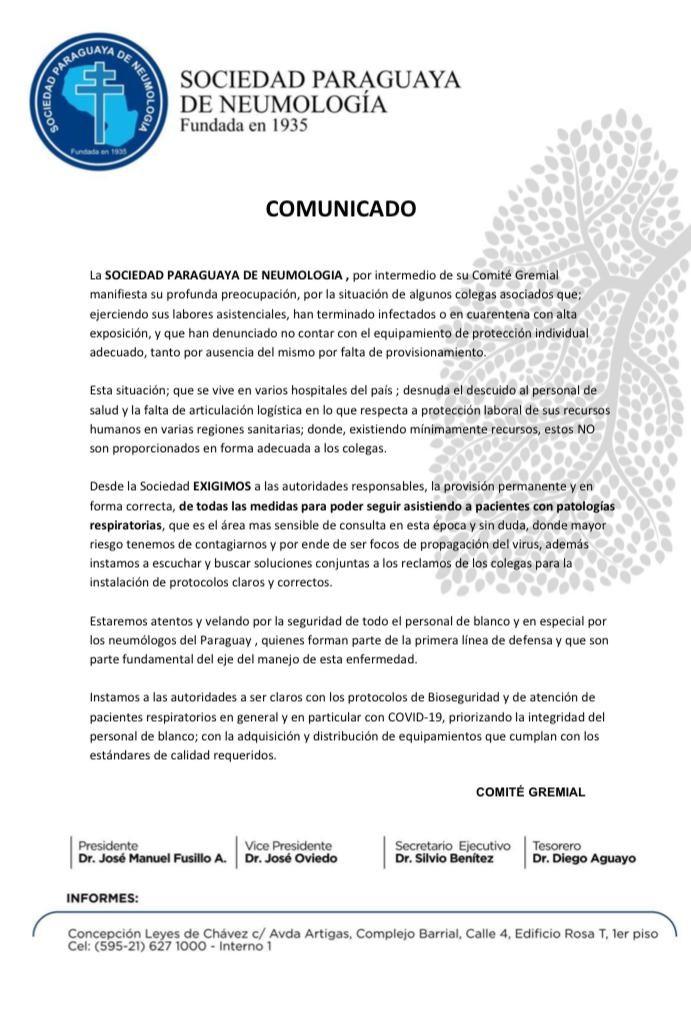 COMUNICADO DE LA SOCIEDAD PARAGUAYA DE NEUMOLOGÍA